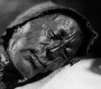 The preserved 'Tollund Man'. Sacrificed to the Mother Goddess?