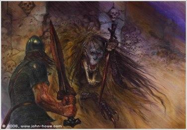 Beowulf fights Grendel's mother. Artist - John Howe