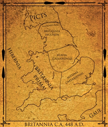 A rough idea of how the four provinces of Britain (created by the Diocletian Reforms) looked in the 5th century. Their arrangement is still a matter of debate.